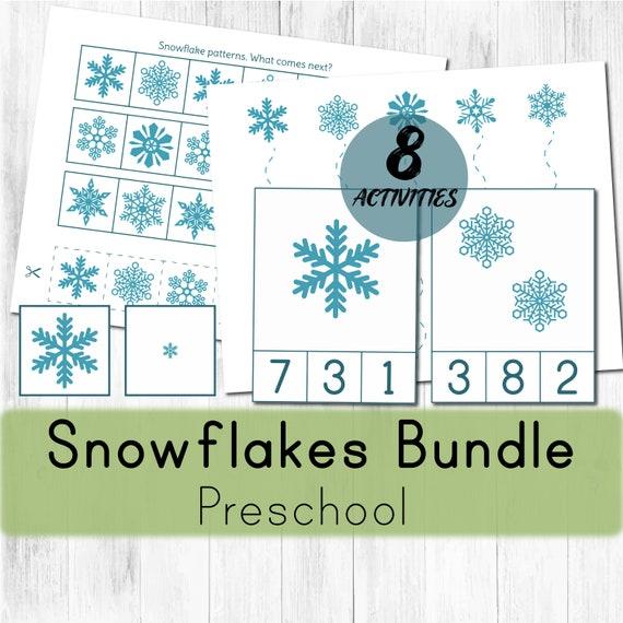 Snowflake preschool activities. Montessori winter printable