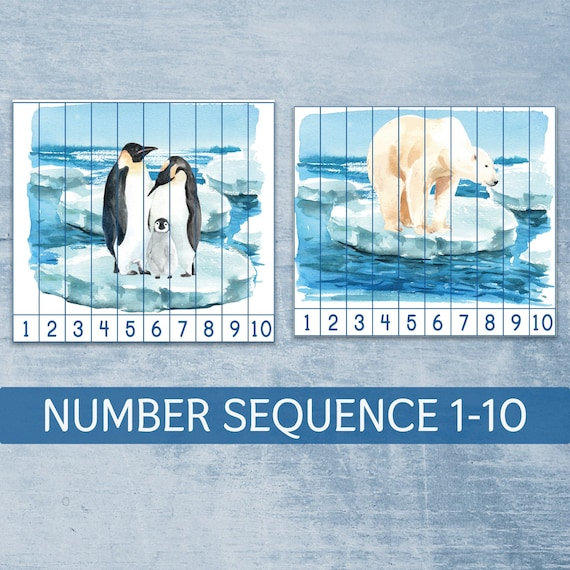Polar bear and penguins number sequence 1-10 puzzles