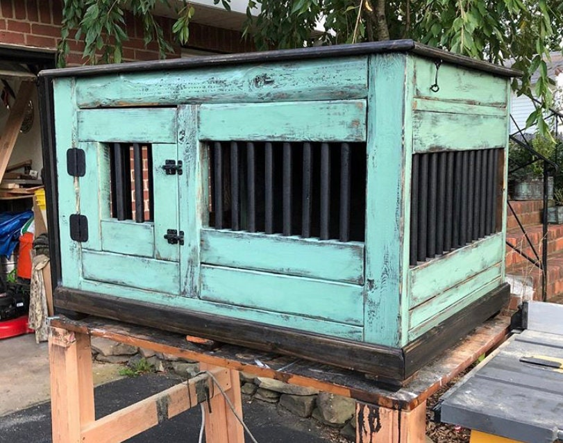 Used, Custom handmade wooden dog crates for sale
