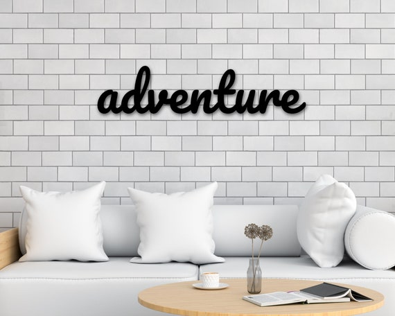 Calligraphy Sign Metal Wall Hanging adventure word sign Adventure metal sign