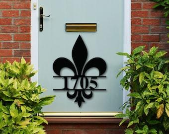 Fleur De Lis House Number Sign, Fleur De lis Address Plaque, Metal Fleur De Lis Address, Customized Fleur De Lis Address Sign, Custom Metal