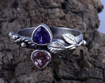 AA Tanzanite blue 0.68 ct Amazing 925 sterling silver Handmade Ring And Tourmaline 0.16 Ct