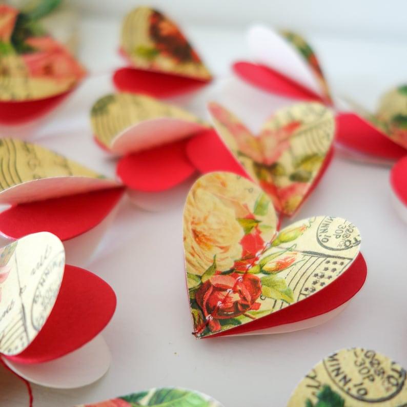 rose gifts rose wedding garland flower garland heart paper garland Rose garland vintage rose decor heart backdrop rose Paper backdrop