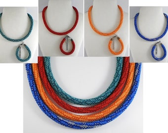 Jewelery set: Green, Red, Orange, Blue beaded rope necklace and bracelet, Crochet necklace, Seed bead necklace and bracelet, Handmade
