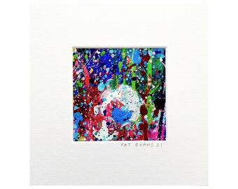 """Abstract Art - Mounted  - 8 x 8"""" - 2021  - Original Painting  - By Kat Evans"""