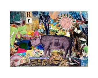 Rhino  - 2021  - Original mixed media collage on A3 envelope - By Kat Evans