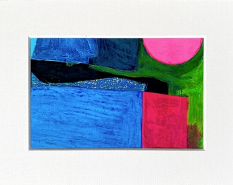 """Untitled  - Abstract Art - Mounted  - 8"""" x 6"""" - 2021  - Original Painting  - By Kat Evans"""