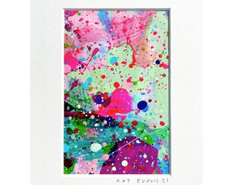 """Abstract Art - Mounted  - 6 x 8 """" - 2021  - Original Painting  - By Kat Evans"""