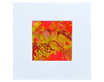 """Mother in the Hood - Abstract Art - Mounted  - 9"""" x 9""""- 2021  - Original Painting  - By Kat Evans"""