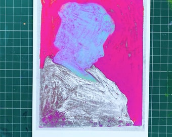Picasso's Mother - Hot Pink - Includes Photograph of Picasso's Mother 1930 - Limited Edition 1-25 - Signed and Dated - By Kat Evans.