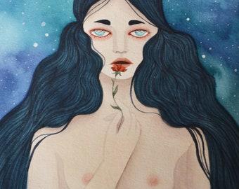 Lilyah, A5 art print / impression d'art A5 - illustration, painting, watercolor, art, aquarelle, peinture, impression, print