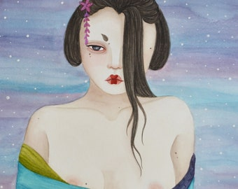 Kanna, A5 art print / illustration, painting, watercolor, art, aquarelle, peinture, impression