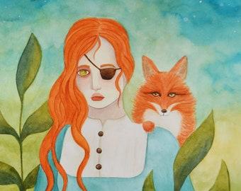 Bathilda, A5 art print / impression d'art A5 - illustration, painting, watercolor, art, aquarelle, peinture, impression, print