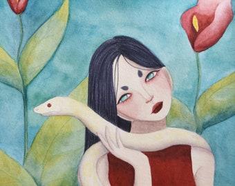 Lian, A5 art print / impression d'art A5 - illustration, painting, watercolor, art, aquarelle, peinture, impression, print