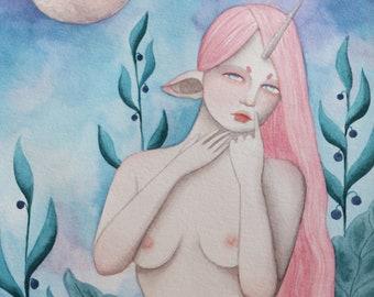 Dina, A5 art print / impression d'art A5 - illustration, painting, watercolor, art, aquarelle, peinture, impression, print