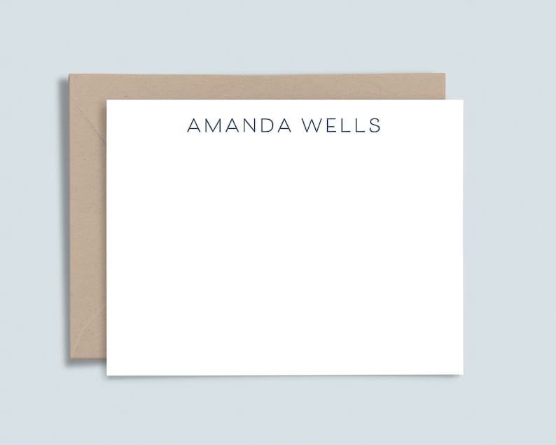 Elegant personalized stationery Modern stationary for women and men Set of 10 flat custom note cards with envelopes