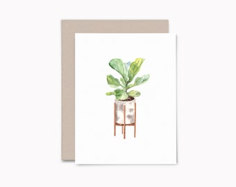 Potted fig plant notecard set, 8ct blank cards with envelopes, house plant greeting card set, HP1