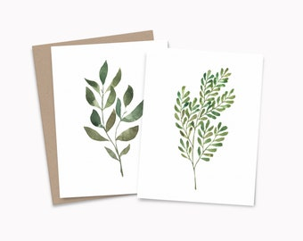 Botanical note card set, watercolor greenery note cards, recycled blank cards with envelopes