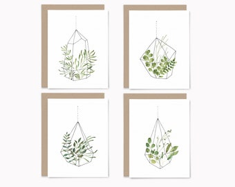 Botanical terrarium note cards with envelopes, 8ct watercolor greeting cards set, Recycled blank note cards