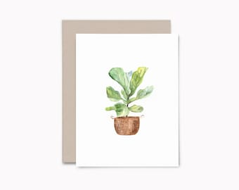 Fig plant greeting card set, 8 blank note cards with envelopes, house plant lover gift, HP1
