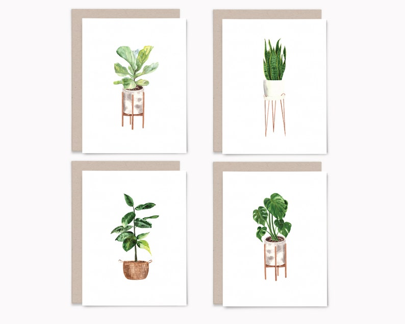 Potted plant greeting card set 8 blank note cards with image 1