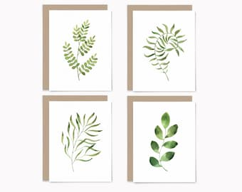 Botanical stationery set, watercolor greenery note cards, recycled blank cards with envelopes