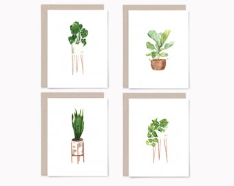 Houseplant notecards with envelopes, Blank greeting card set of 8, Recycled potted plant note cards variety pack, HP2