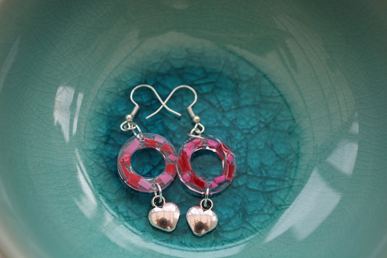 Unique ocean plastic marine debris red and pink drop rectangle valentines resin earrings