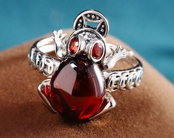 Lovely Cactus Ring RubyEmeraldBlue topaz Silver 92.5/% Enamel 24K Gold Thai ring Valentine Gift for her Gemstone Ring Anniversary ring