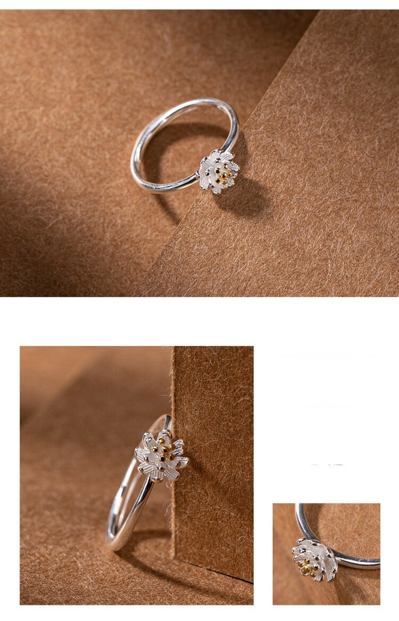 Floral Simple Sterling Silver Ring Engagement Ring Blooming Silver Rings For Women Flower Daisy Ring