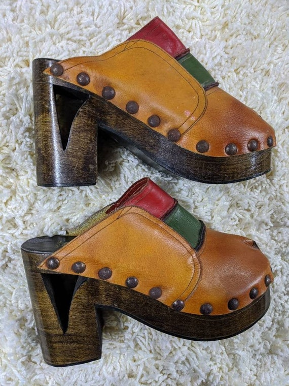 Vintage Color Block Platform Shoes CLOGS Wooden He