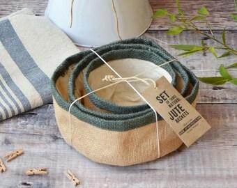 Natural Jute Baskets 3 Storage Pods with Cotton Lining Bathroom Organiser