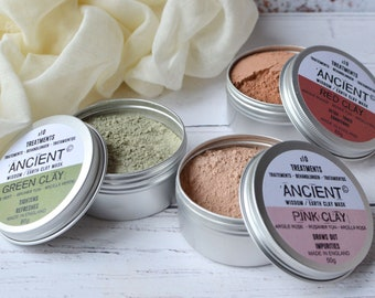 Clay Face Mask Natural Powders Effective Cleansing Treatment for your Skin Red Pink Green Clay