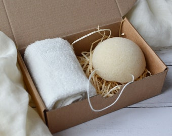 Konjac Sponge and Bamboo Cloth Gift Box Facial Care Cleansing and Exfoliation
