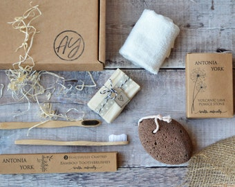 Self Care Spa Gift Box Eco Friendly Bamboo Face Cloth and Toothbrushes Pumice Stone Vegan Soap