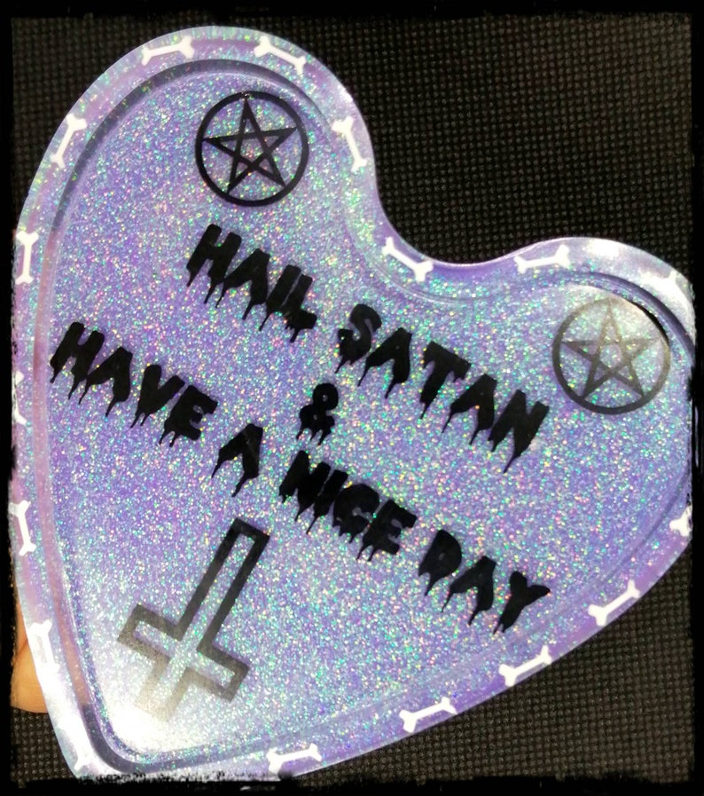 Pastel goth Hail Satan and have a nice day ring dish Goth home decor. Pastel colours Trinket tray