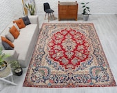 8 39 x 11 39 3 quot Clean Vintage Abstract Floral Shiny Rug , Salon Carpet, Red Azeri Rug, Red Antique Area Rug, Red Blue Rug 00020307