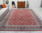 8 39 4 quot x 11 39 6 quot Palace Size Full Pile Red Azeri Rug, Red Medallion Carpet , Antique Soft Area Rug 00042040