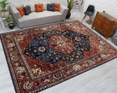 9 39 1 quot x 12 39 3 quot Shiny Red and Navy Blue Pile Living Room Carpet, Medallion Salon Carpet, Azeri Rug, Red Antique Area Rug, 00020926