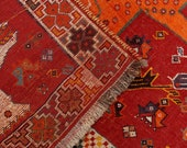 3 39 10 quot x 6 39 9 quot Red and Orange Nomadic deco Vintage Rug , 60 year Old Afghan Rug ,Antique Area Rug, 00020956