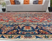 7 39 11 quot x 11 39 10 quot Sheen Pile Luxury Carpet,Tribal Medallion Salon Carpet, Red Azeri Rug, Red Antique Area Rug, Red Blue Rug 00020925
