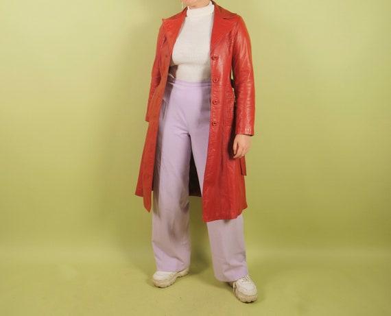 1970s burnt orange leather trench coat - image 4