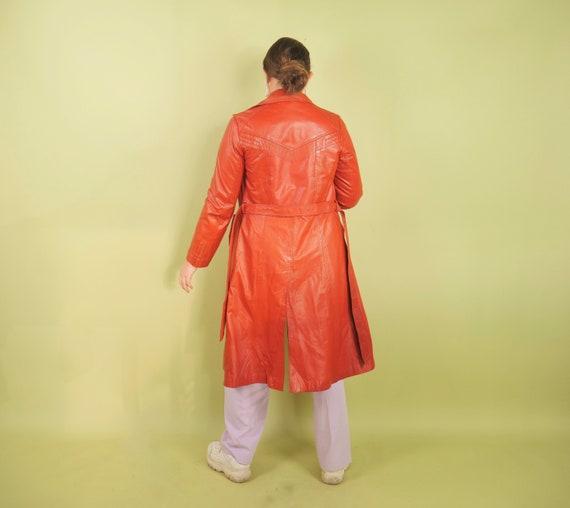 1970s burnt orange leather trench coat - image 3