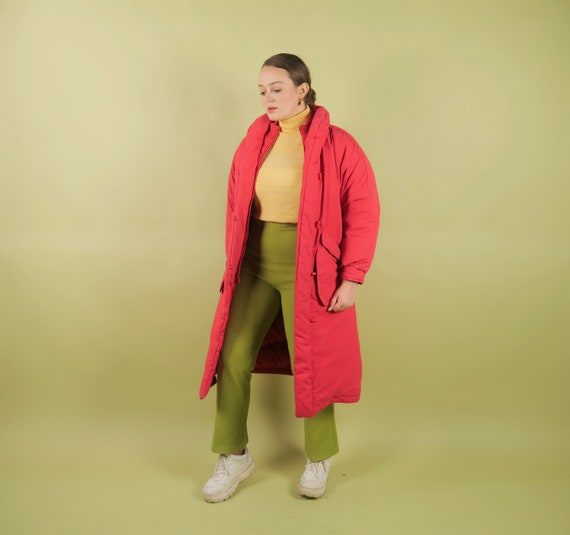 Vintage 80s cherry red puffer coat