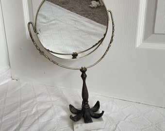 Art Deco Victorian Double Sided Vanity Patina Mirror On FLOWER Cast Iron Stand & Marble Base. Swivel Mirror with Floral Brass Detail on Trim