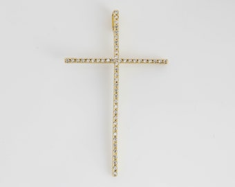 PC-0165 21x11mm 1 pc Rose Gold Plate 925 Sterling Silver Diamond CZ Skinny Cross Pendant Charm