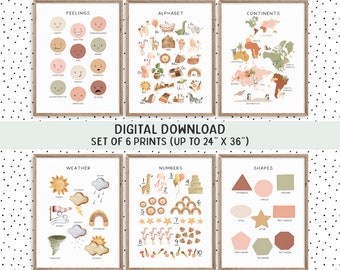 Boho Educational Posters, Preschool Classroom Posters, ABC Poster Toddler Montessori Materials, Playroom Homeschool PRINTABLE Wall Art FD09