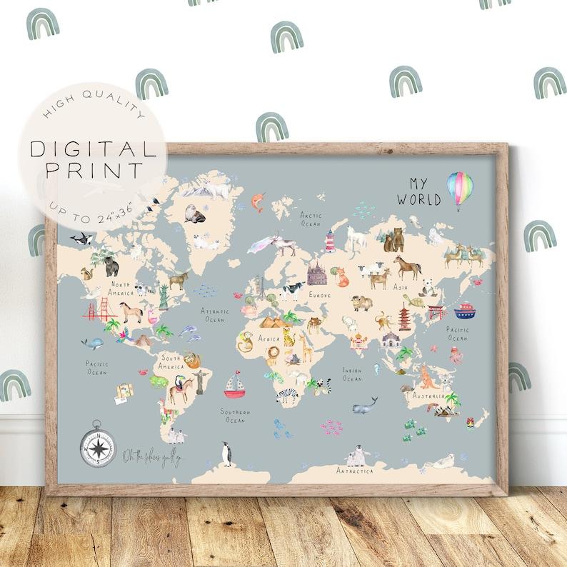 Animal World Map Print World Map Wall Art Educational image 0
