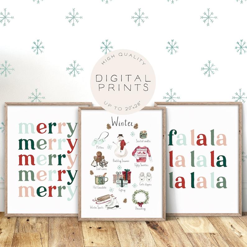 Set of 3 Winter Prints Winter Decor Hygge Wall Art Merry image 0