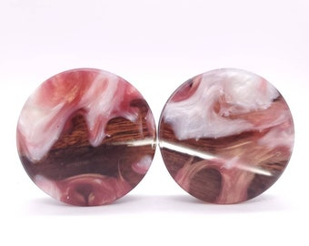 20mm Handmade Epoxy Resin and Cherry Wood Double Flare Plugs Gauges Earrings Jewelry